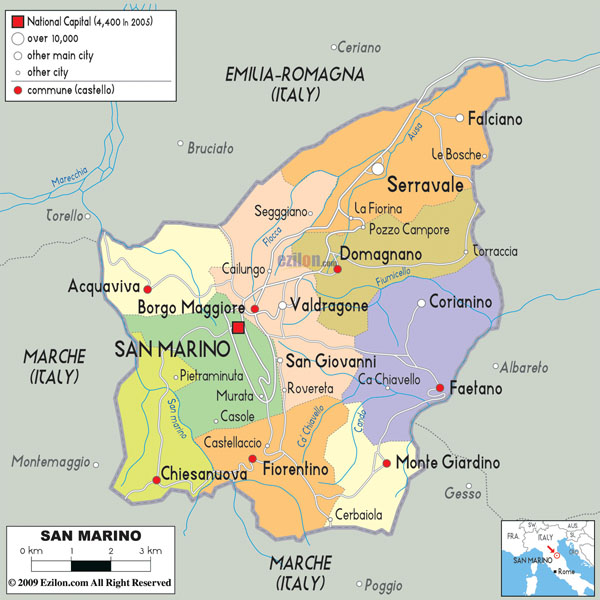 Detailed political and administrative map of San Marino with roads and cities.