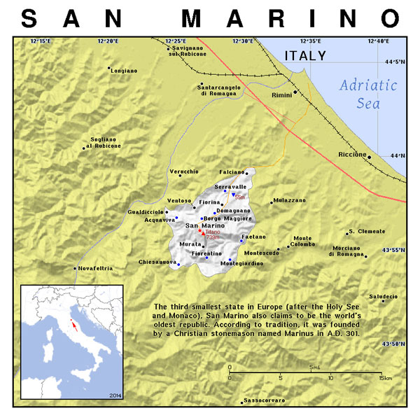 Large political map of San Marino. San Marino large political map.