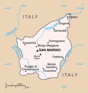 Political map of San Marino. San Marino political map.