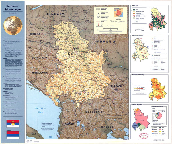Large detailed country profile map of Serbia and Montenegro with relief.