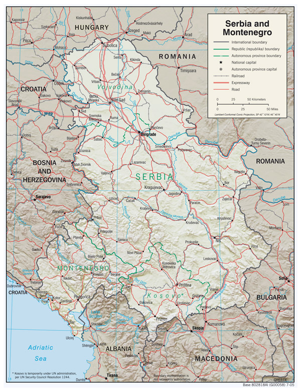 Large detailed political map of Serbia and Montenegro with relief, roads and major cities - 2005.
