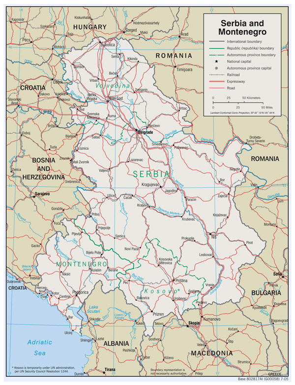 Large detailed political map of Serbia and Montenegro with roads and major cities - 2005.