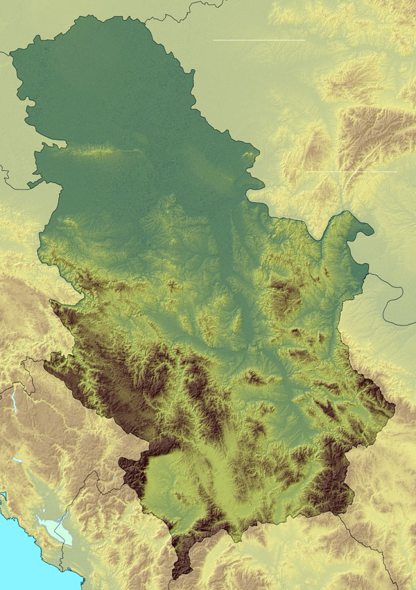 Large detailed relief map of Serbia. Serbia large detailed relief map.