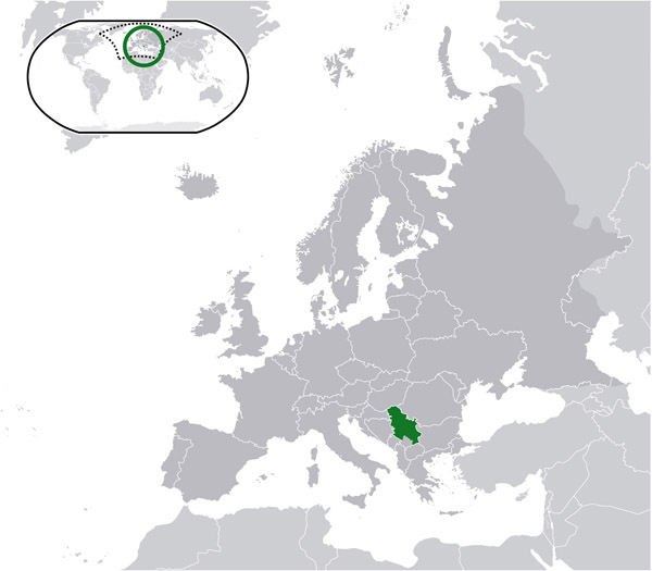 Large location map of Serbia. Serbia large location map.