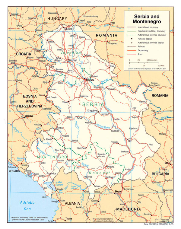 Large political map of Serbia and Montenegro with roads and major cities - 2005.