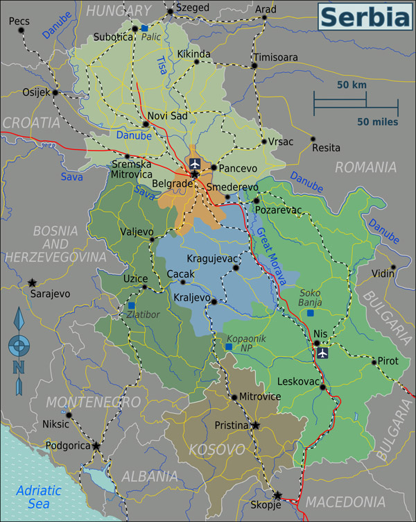 Large regions map of Serbia. Serbia large regions map.