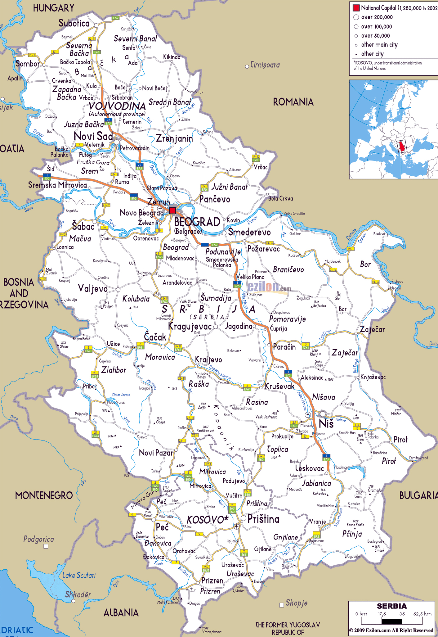 Large road map of Serbia with cities and airports | Vidiani