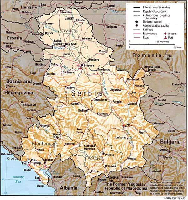 Relief and administrative map of Serbia and Montenegro.