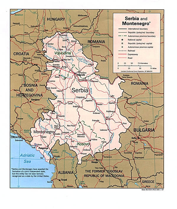 Road map of Serbia and Montenegro. Serbia and Montenegro road map.
