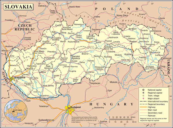 Detailed administrative and political map of Slovakia.