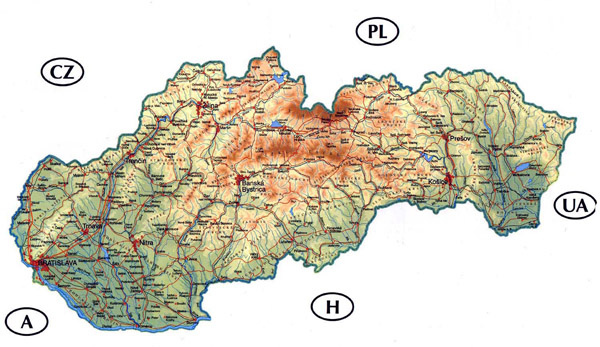 Detailed road and physical map of Slovakia.