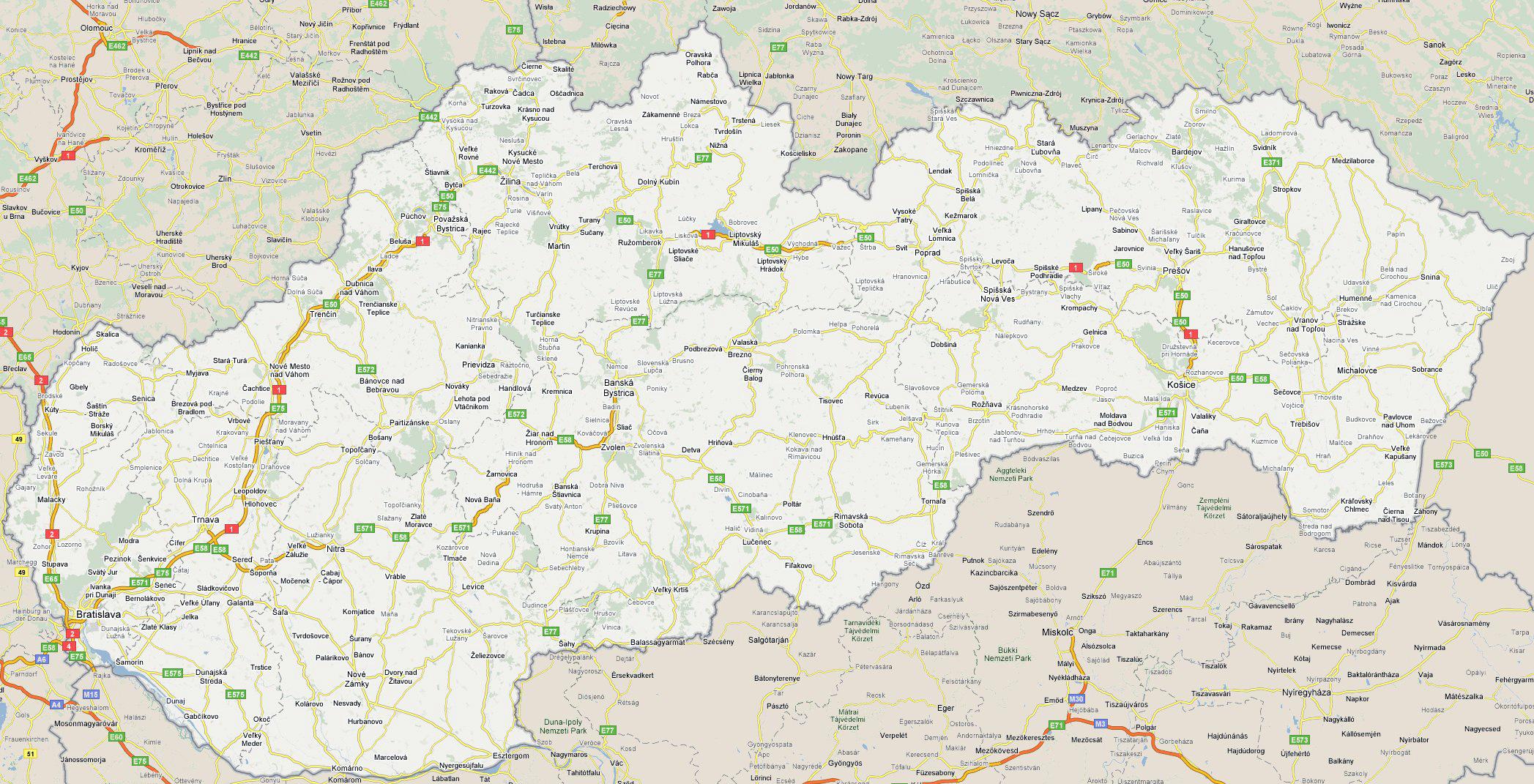 Large detailed roads map of Slovakia Vidianicom Maps of all