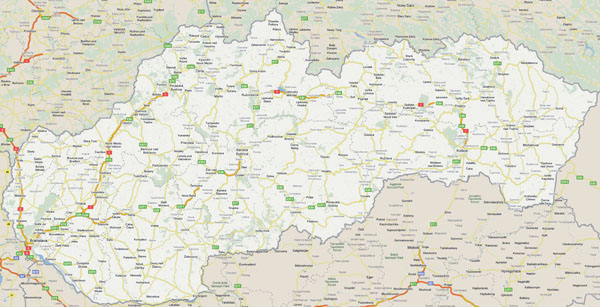 Large detailed roads map of Slovakia.