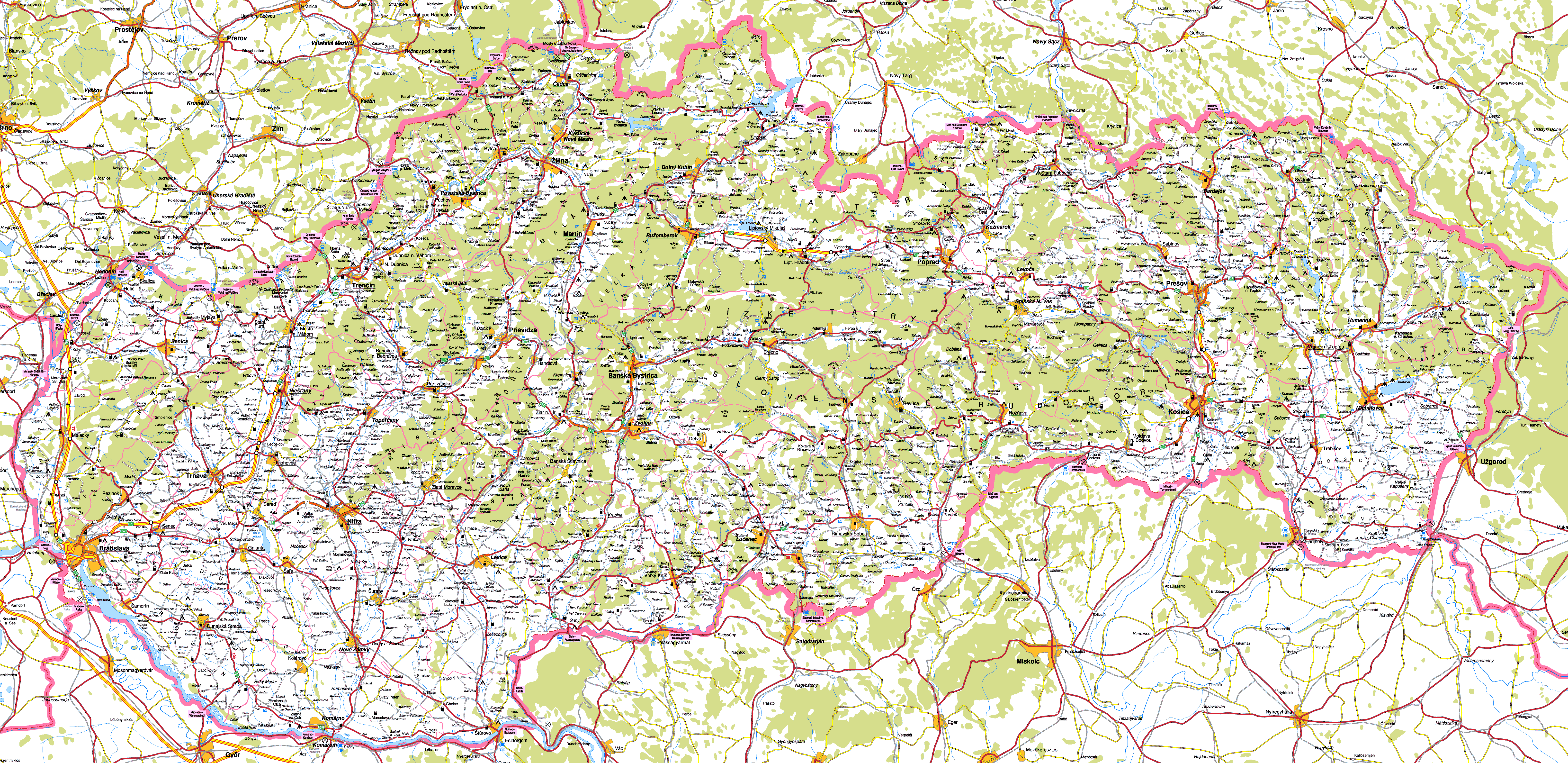 Large detailed roads map of Slovakia with all cities Vidianicom