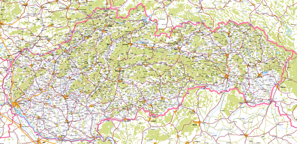 Large detailed roads map of Slovakia with all cities.
