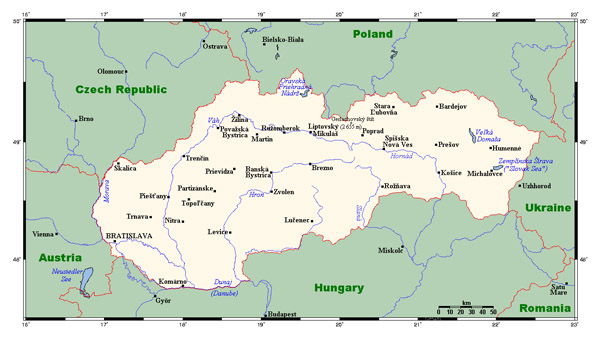 Map of Slovakia with cities and neighboring countries.