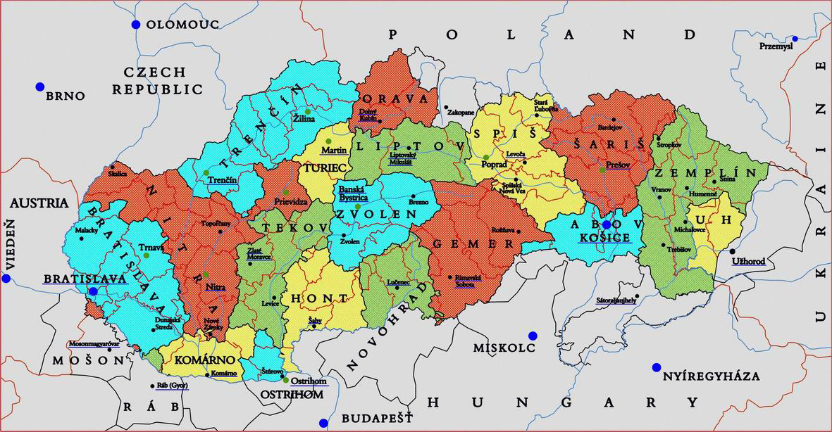 Slovakia administrative divisions map Vidianicom Maps of all