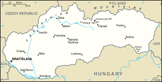 Small map of Slovakia. Slovakia small map.