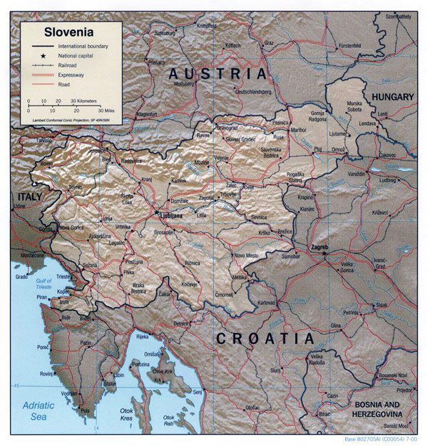 Detailed political map of Slovenia with relief, roads and cities.