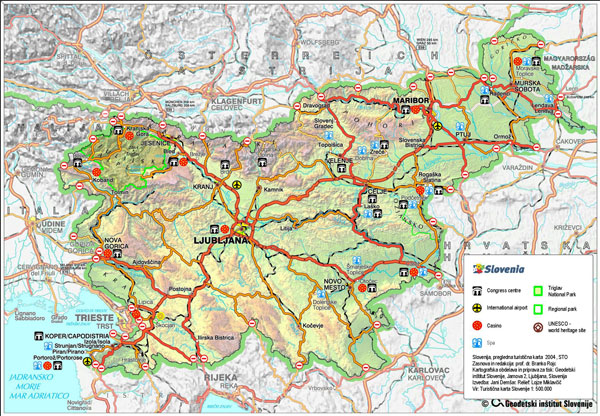 Detailed roads and tourist map of Slovenia.