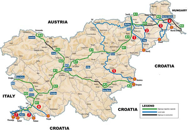 Large detailed map of international corridors, highways and local roads of Slovenia.