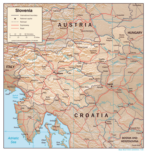 Large detailed political map of Slovenia with relief, roads and cities.