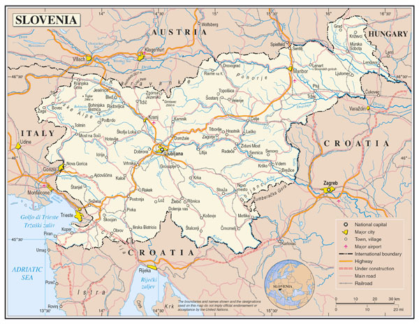 Large detailed political map of Slovenia with roads, cities and airports.