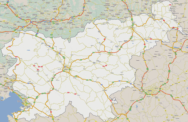 Large detailed roads map of Slovenia.