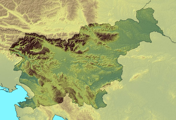 Large relief map of Slovenia. Slovenia large relief map.