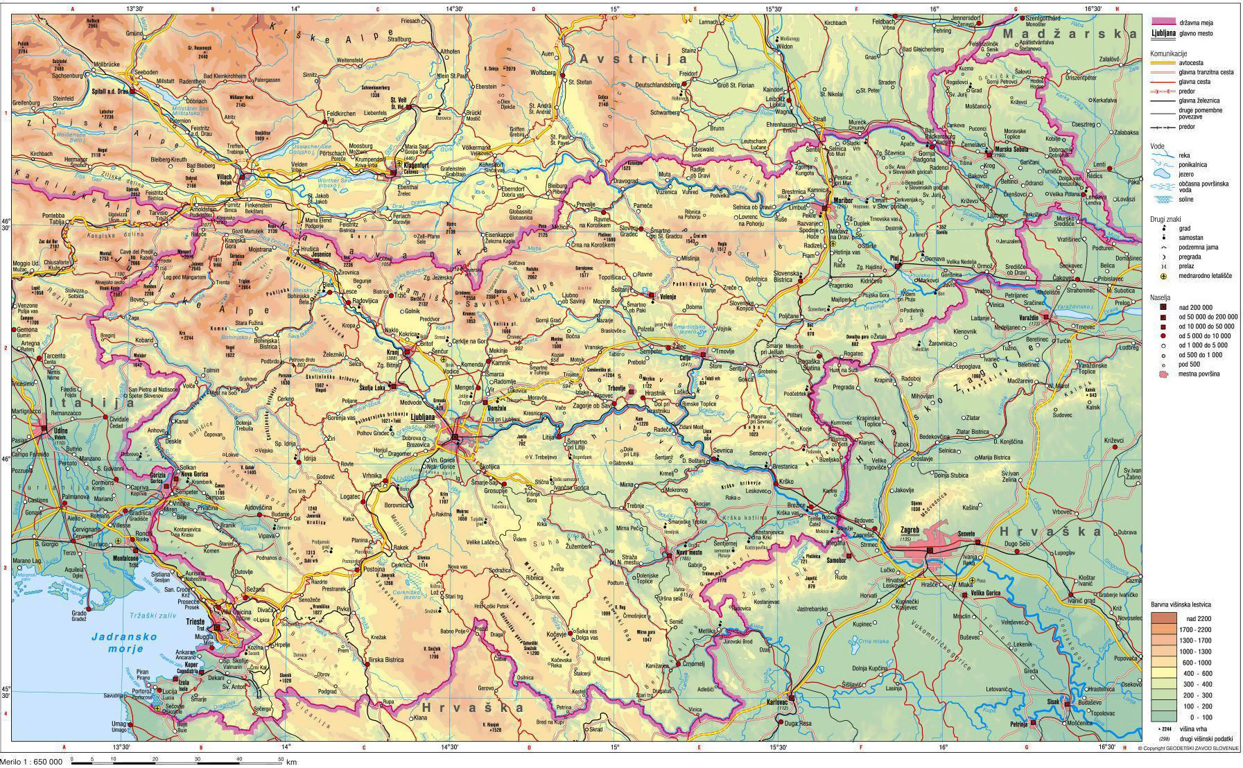 Physical map of Slovenia Slovenia physical map Vidianicom Maps
