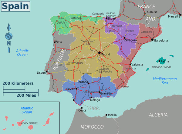 Administrative map of Spain. Spain administrative map.