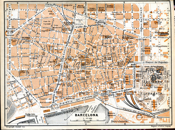 Detailed old map of Barcelona center. Central part of Barcelona detailed old map.