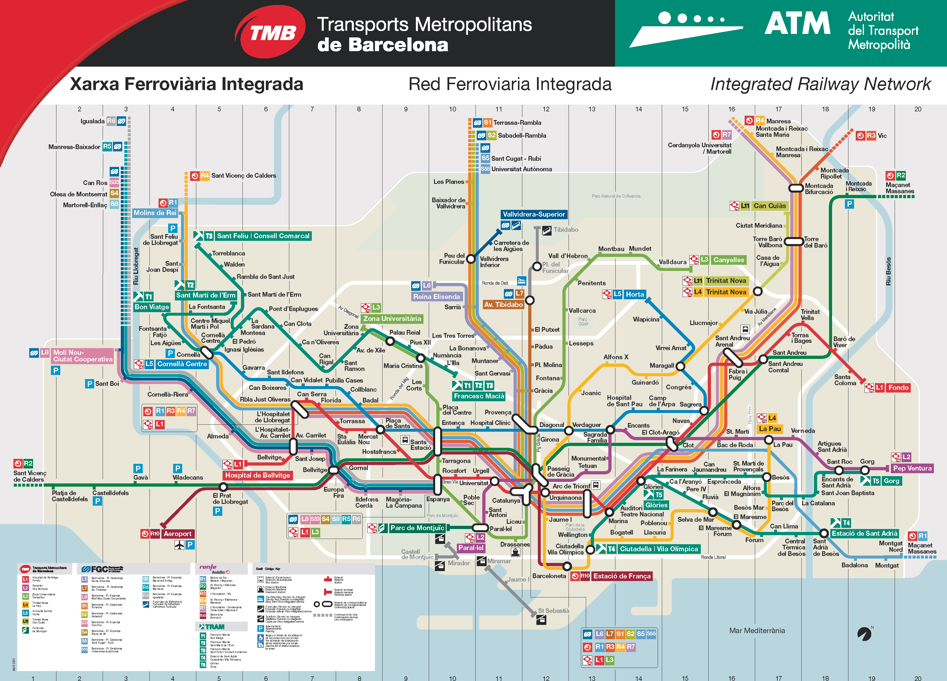 Mapa De Trenes Barcelona.Large Detailed Metro Map Of Barcelona City Barcelona City