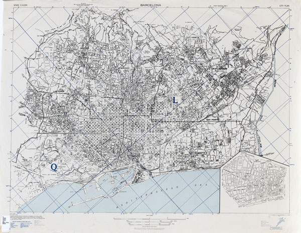 Large detailed old map of Barcelona - 1943.