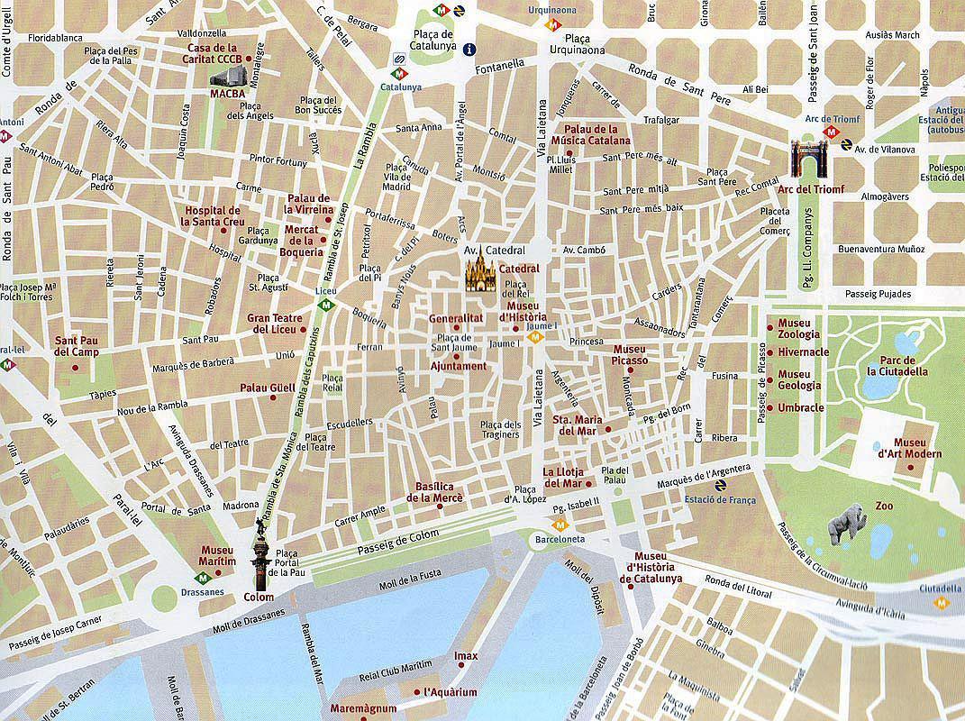 Tourist map of Barcelona city Barcelona city tourist map – Barcelona City Map Tourist