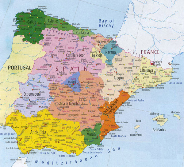 Detailed administrative map of Spain. Spain detailed administrative map.