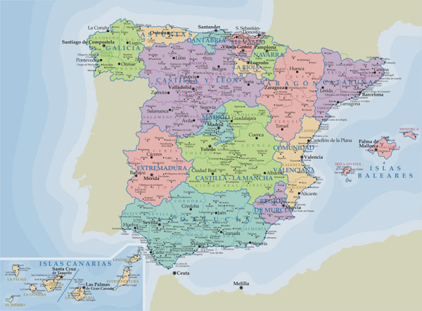 Detailed administrative map of Spain with major cities.