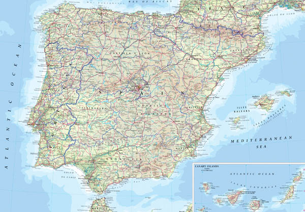Detailed physical map of Spain. Spain detailed physical map.