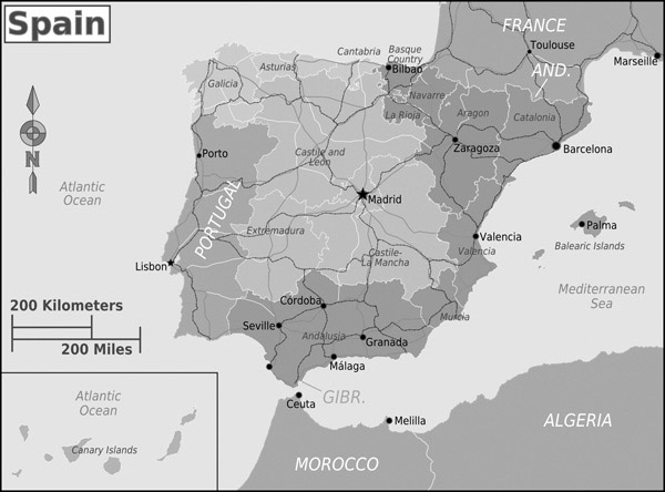 Detailed political map of Spain. Spain detailed political map.
