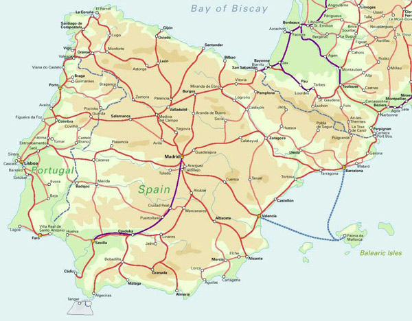 Detailed railroads map of Spain. Spain detailed railroads map.