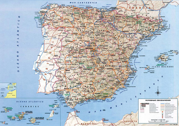 Detailed road map of Spain. Spain detailed road map.