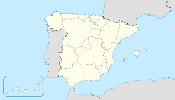 Large detailed contour map of Spain.