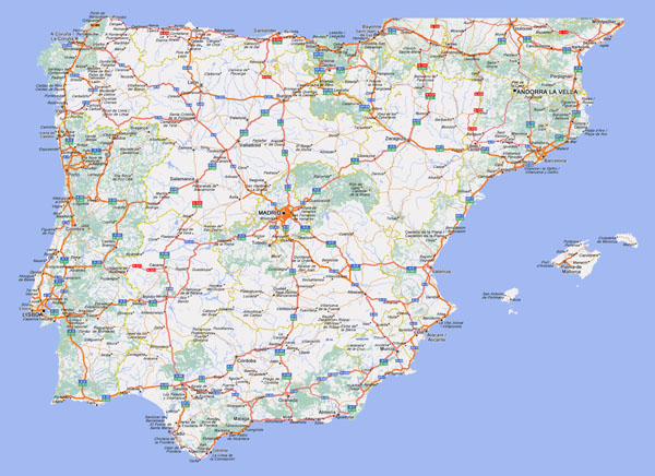 Large detailed highways map of Spain and Portugal with cities.