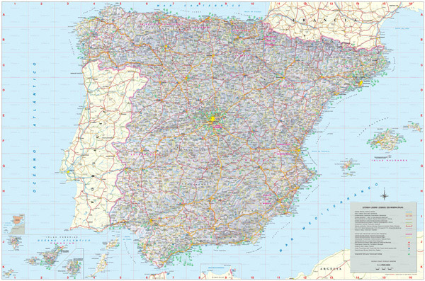 Large detailed map of Spain with all cities, villages, roads, highways and airports.