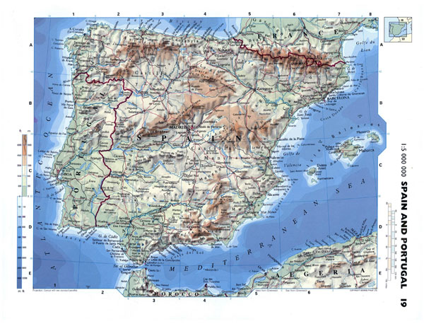 Large detailed physical map of Spain and Portugal with roads and cities.