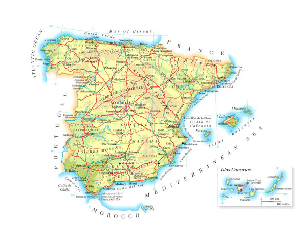 Large detailed physical map of Spain with roads, cities and airports.