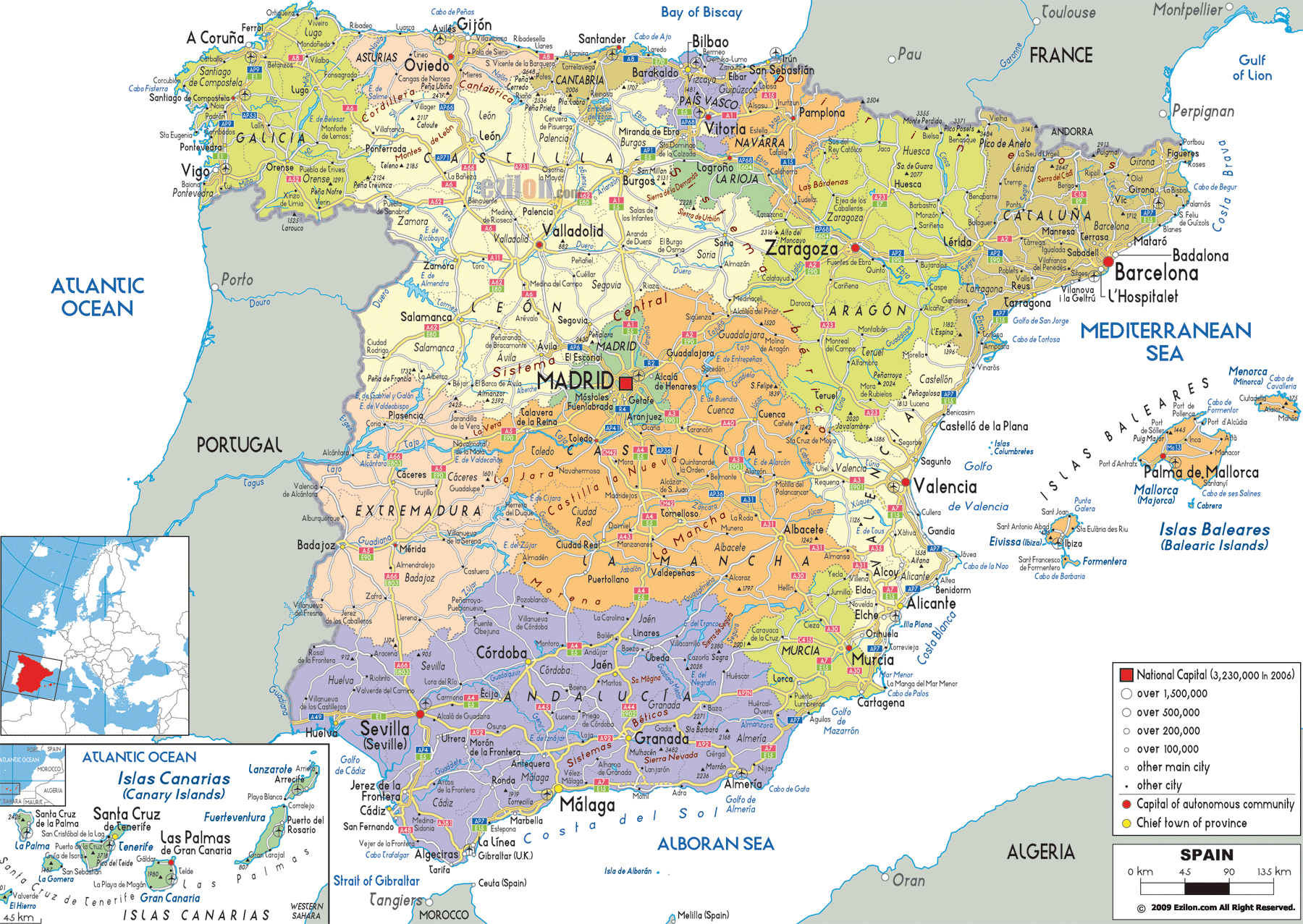 Large detailed political and administrative map of Spain with all