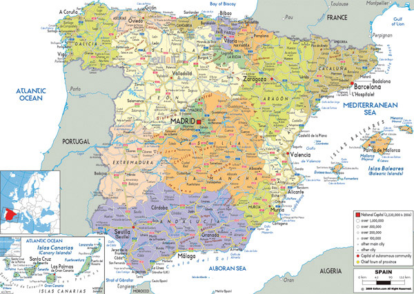 Large detailed political and administrative map of Spain with all roads, cities and airports.