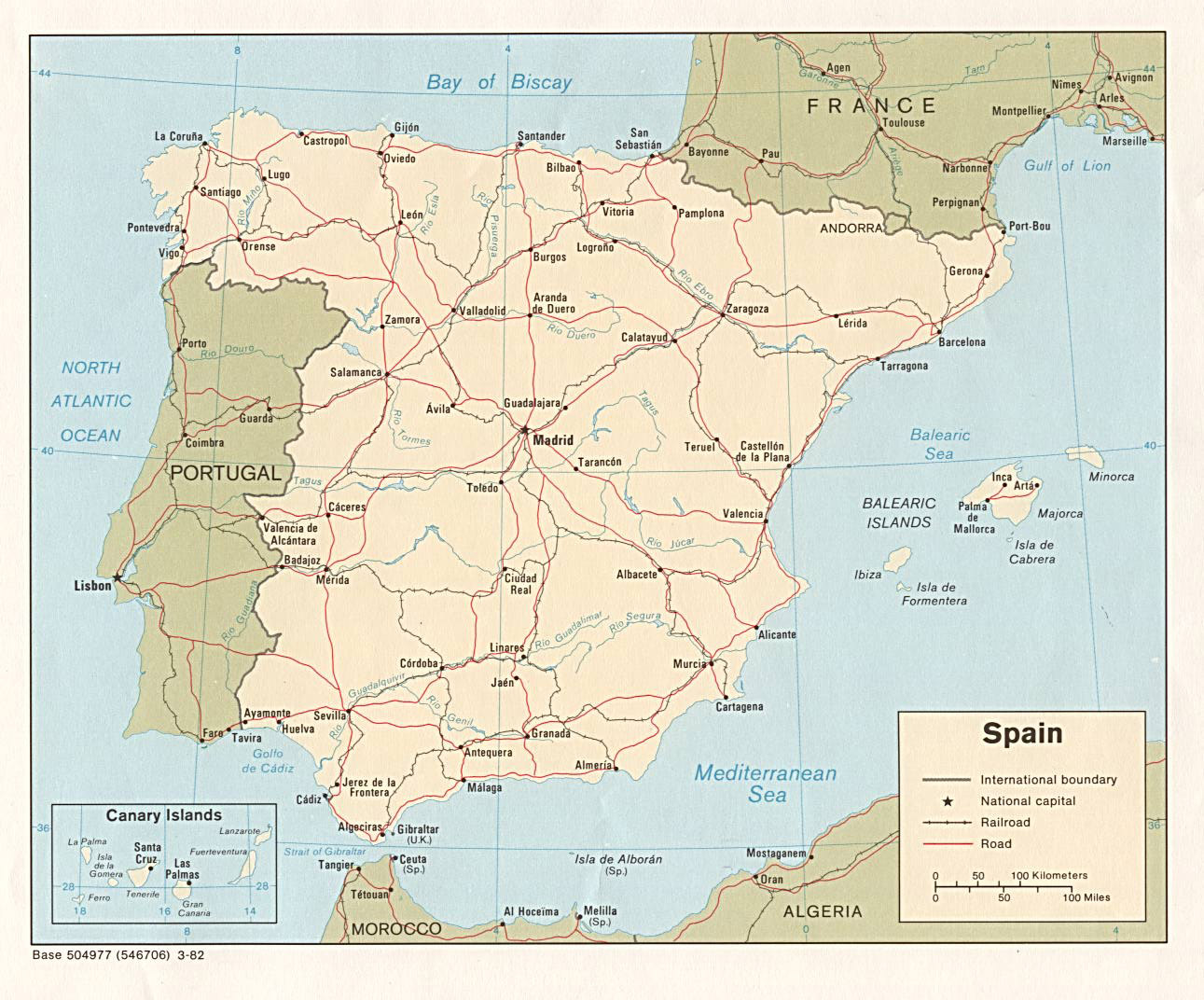 Large Detailed Political Map Of Spain With Highways Railroads And - Spain political map