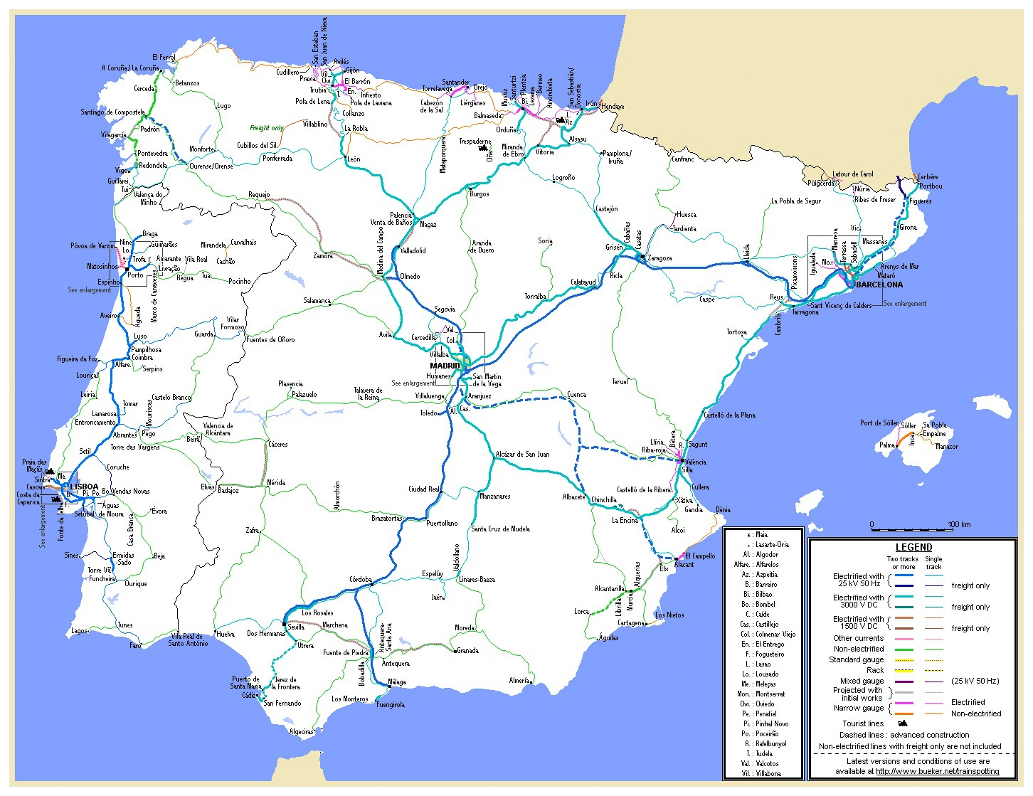 Large Detailed Railroads Map Of Spain And Portugal Spain And